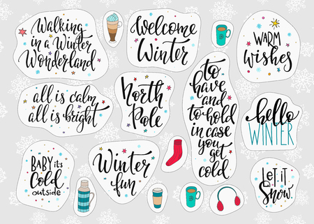Merry Christmas Happy New Year simple lettering set. Winter Holidays vector. Calligraphy card postcard graphic design element. Hand written sign. Photo overlay  North Pole Baby cold outside
