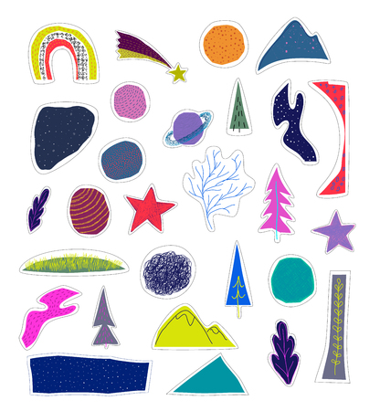 Universe Space nature Star cutout sticker set moon rainbow travel cosmos astronomy inspiration graphic design typography element. Hand written postcard. Cute simple vector paper collage style