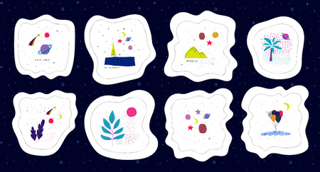 Universe Space nature Star cutout sticker set moon travel cosmos astronomy inspiration graphic design typography element. Hand written postcard. Cute simple vector paper collage style Çizim