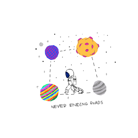 Never ending roads Universe Space travel Planet Star moon astronaut cosmos astronomy inspiration graphic design typography element. Hand drawn postcard. Cute simple vector paper cutout collage style 写真素材 - 126058629
