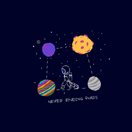 Never ending roads Universe Space travel Planet Star moon astronaut cosmos astronomy inspiration graphic design typography element. Hand drawn postcard. Cute simple vector paper cutout collage style