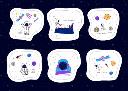 Universe Space astronaut nature Star cutout scircle sticker set moon satellite travel cosmos astronomy graphic design typography element. Hand written postcard. Cute simple vector paper collage style Çizim