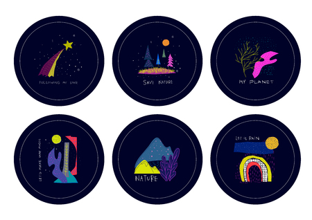 Universe Space nature Star cutout scircle sticker set moon balloon travel cosmos astronomy inspiration graphic design typography element. Hand written postcard. Cute simple vector paper collage style Çizim