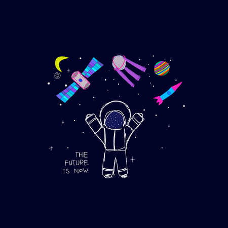 The Future is now Universe Space travel Planet Star moon astronaut cosmos astronomy inspiration graphic design typography element. Hand drawn postcard. Cute simple vector paper cutout collage style