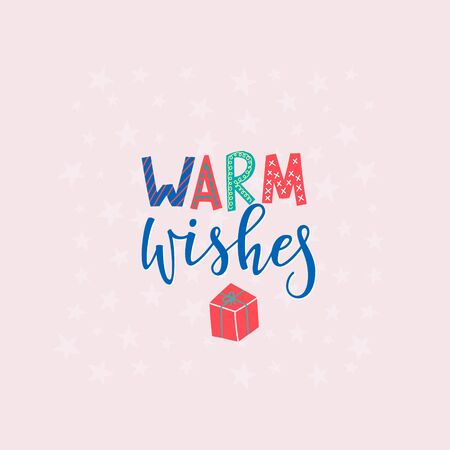 Warm Wishes Happy New Year Merry Christmas simple lettering postcard. Calligraphy card graphic design element. Hand written sign. Photo overlay Winter Holidays vector. Festive Santa stars colorful joy