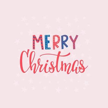 Merry Christmas Happy New Year simple lettering postcard. Calligraphy card sticker graphic design element. Hand written sign. Photo overlay Winter Holidays vector. Festive Santa stars colorful joy Stok Fotoğraf