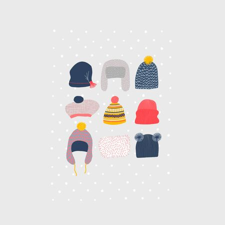 Warm funny hats earlaps set winter illustration Cold season bobble knitting cap. Cute, simple vector snowfall colorful head postcard graphic design paper cutout geometric style yellow blue red print