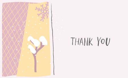 Thank you snow tree Christmas snowflake simple card. Winter Holidays vector. Paper postcard graphic element. Cute Hand written primitive small sign Kids drawing Children greeting made cutout naive art