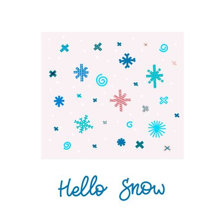 Hello snow Christmas snowflake simple card. Winter Holidays vector. Paper postcard graphic design element. Cute Hand written primitive small sign. Kids drawing Children hand made cutout naive art