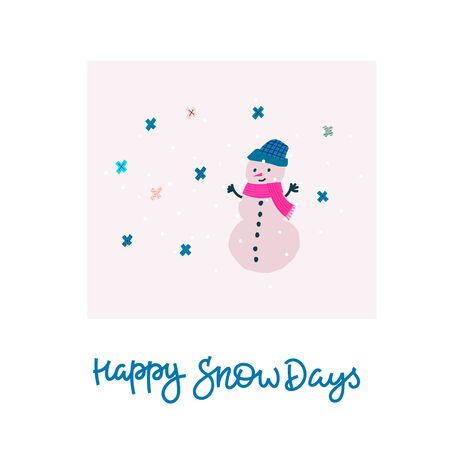 Happy snow days hug smile snowman Christmas simple snowflake card. Winter Holidays vector. Paper postcard graphic design element. Cute written primitive small sign. Kids drawing hand made cutout art