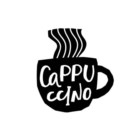 Coffee Cappuccino abstract Drink types sign lettering on cup. Cute, simple vector for postcard graphic design Hand written paper cutout letters geometric style print. Hot mug Shop promotion motivation