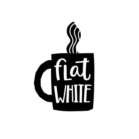 Coffee Flat White abstract Drink types sign lettering on cup. Cute, simple vector for postcard graphic design Hand written paper cutout letters geometric style print. Hot mug Shop promotion motivation