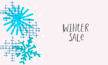 Winter sale snow Christmas snowflake simple card. Winter Holidays vector. Paper postcard graphic design element. Cute Hand written primitive small sign. Kids drawing Children made cutout naive art