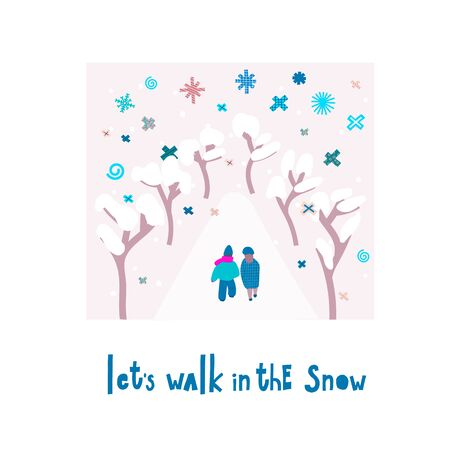Lets walk snow flake tongue hug smile Christmas simple card. Winter Holidays vector. Paper postcard graphic design element Cute written primitive small sign. Kids drawing Children hand made cutout art Stock Photo