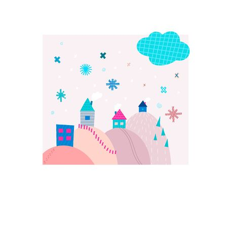 Snowfall house snowflake hug smile Christmas simple card. Winter Holidays vector. Paper postcard graphic design element. Cute Hand written primitive small sign. Kids drawing Children made cutout art
