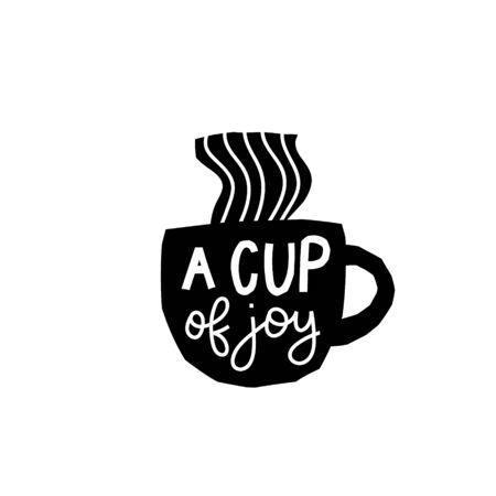 Cup of Joy Coffee abstract color quote lettering. Calligraphy inspiration graphic design typography element. Hand written postcard Cute simple vector sign paper cutout letters geometric style print Banco de Imagens