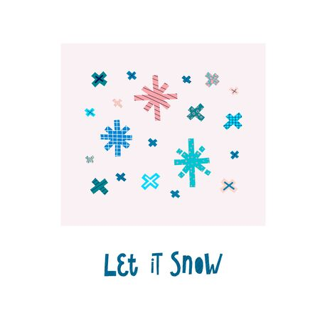 Let it snow Christmas snowflake simple card. Winter Holidays vector. Paper postcard graphic design element. Cute Hand written primitive small sign. Kids drawing Children hand made cutout naive art