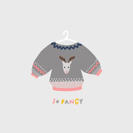 So fancy deer oversized grey hanging sweater season winter autumn cold illustration Cold striped sign lettering. Cute, simple vector postcard graphic design paper cutout letters geometric style print