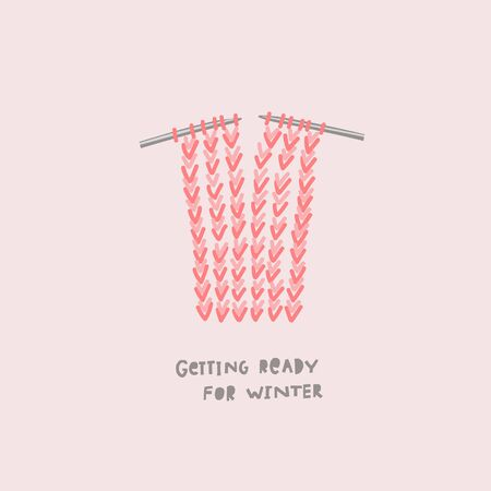 Getting ready winter season illustration Cold sweater scarf socks knitting needle red hand made sign lettering. Cute, simple vector postcard graphic design paper cutout letters geometric style print Фото со стока