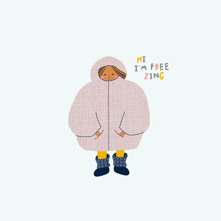 I am freezing season winter illustration Cold oversized sweater hoodie jacket pockets socks girl sign lettering. Cute, simple vector postcard graphic design paper cutout letters geometric style print