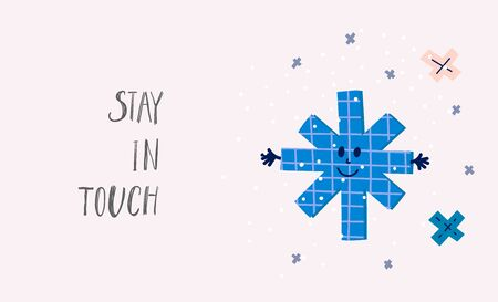 Stay touch snowflake hug smile Christmas simple card. Winter Holidays vector. Paper postcard graphic design element. Cute Hand written primitive small sign. Kids drawing Children hand made cutout art