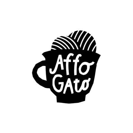 Coffee Affogado Icecream Drink types sign lettering on cup. Cute, simple vector for postcard graphic design Hand written paper cutout letters geometric style print. Hot mug Shop promotion motivation