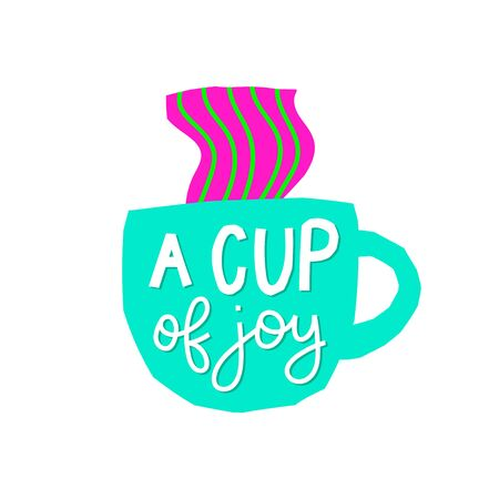 Cup of Joy Coffee abstract color quote lettering. Calligraphy inspiration graphic design typography element. Hand written postcard Cute simple vector sign paper cutout letters geometric style print Ilustração