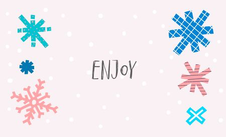 Enjoy snow Christmas snowflake simple card. Winter Holidays vector. Paper postcard graphic design element. Cute Hand written primitive small sign. Kids drawing Children hand made cutout naive art