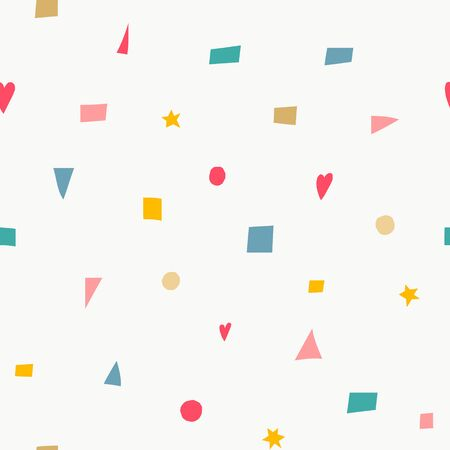 Geometric confetti color brigth doodles hand drawn seamless pattern. Cute, simple vector for postcard and poster graphic design for textile, wrapping paper, hand drawn style christmas backgrounds