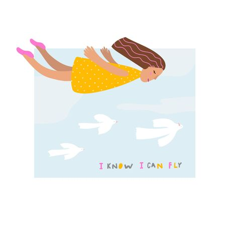 I know I can fly girl birds sky season summer illustration yellow dress sign lettering. Cute simple vector postcard graphic design paper cutout letters geometric style print