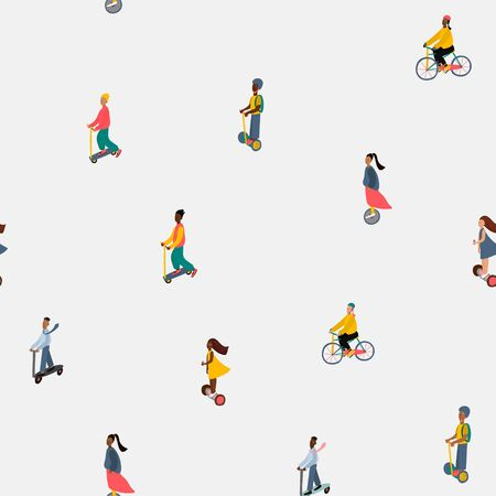 City transportation active life style character illustration seamless pattern Fast move people vector. Urban fashion transport ecology optimization postcard graphic design element Cute bicycle scooter