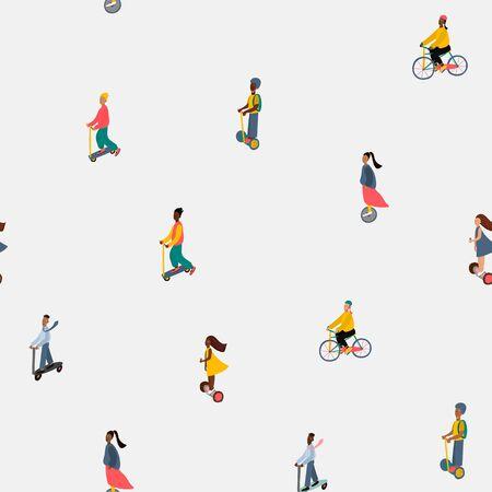 Modello senza cuciture dell'illustrazione del carattere di stile di vita attivo del trasporto della città Vettore veloce della gente di movimento. Elemento di design grafico della cartolina di ottimizzazione dell'ecologia del trasporto di moda urbana Carino scooter per biciclette