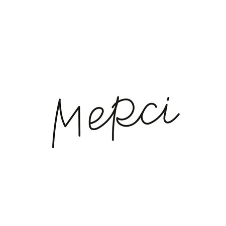 Merci French Thank you quote lettering. Calligraphy inspiration graphic design typography element. Hand written postcard. Cute simple black vector sign point flourishes