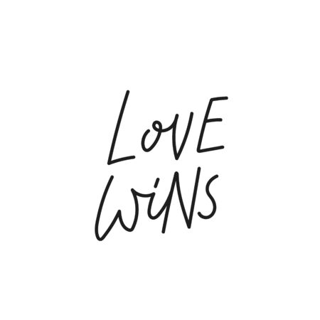 Love wins quote lettering. Calligraphy inspiration graphic design typography element. Hand written postcard. Cute simple black vector sign