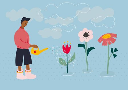 Boy Man rubber boots waters flowers pot scene postcard illustration. Spring summer cloud sky season sunny day inspiration graphic design typography element. Hand drawn picture. Flat vector symbol.