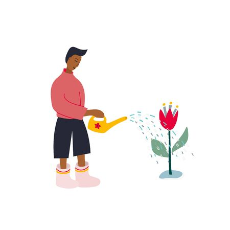 Boy Man rubber boots waters flowers pot scene postcard illustration. Spring summer gardening season sunny day inspiration graphic design typography element. Hand drawn picture. Simple vector symbol.