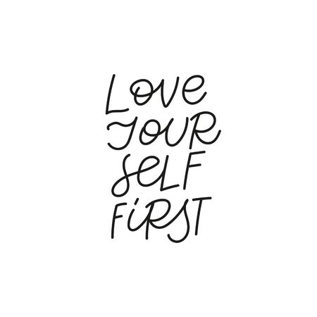 Love yourself first quote lettering. Calligraphy inspiration graphic design typography element. Hand written postcard. Cute simple black vector sign. Geometric simple forms background. Stockfoto - 149380634