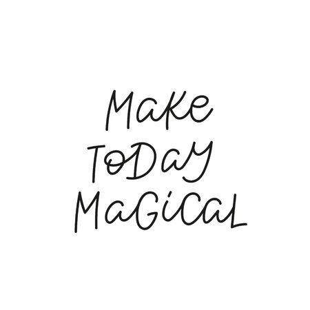 Make today magical quote lettering. Calligraphy inspiration graphic design typography element. Hand written postcard. Cute simple black vector sign. Geometric simple forms background. Stockfoto - 149380644