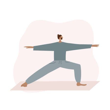 Yoga studio asana pose people vector illustration