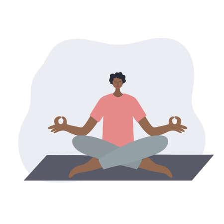 Meditating yoga pose of people vector illustration