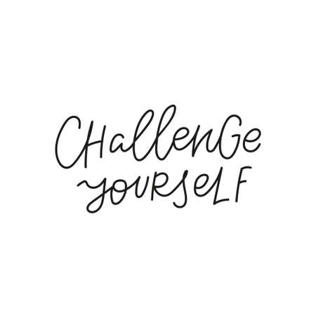 Challenge yourself quote simple lettering sign Vectores