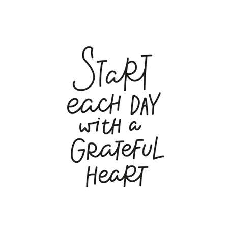 Start day grateful heart quote simple lettering Vectores