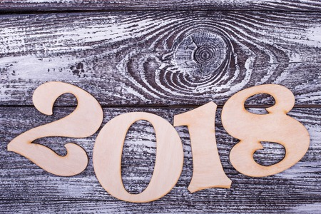 Arc of numbers 2018. Place for text on grey background. Happy New Year