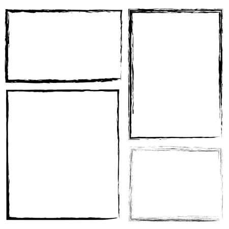 Hand-drawn brush border. Flat rectangle frame in grunge style. Pencil drawing. Stock photo. Vektorové ilustrace