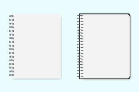 Blank sheet of notepad or notebook. Vector layout of two pages of paper. School paper template for notes. Stock Photo.