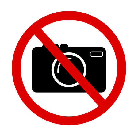 Picture prohibiting taking photos with the camera. Sign of illegal forbidden recording. Warning restrictions photograph. Vector illustration. Stock Photo.