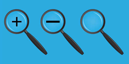 Vector magnifying glass icon. A set of loops with zoom plus and minus. Sign of increase and decrease. Lens and focus tool. Stock Photo. Ilustrace