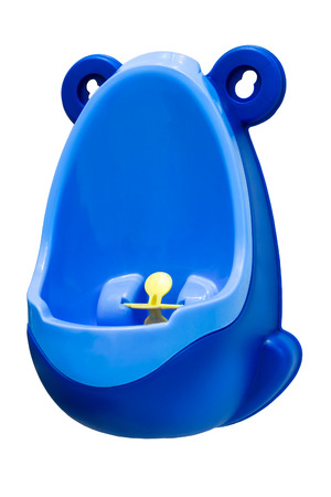 Funny baby urinal for boys. Housebreaking. To pee standing up. Object isolated on white background
