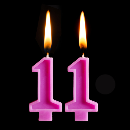Burning Birthday Candles In The Form Of 11 Eleven Figures For Stock Photo Picture And Royalty Free Image Image 100396414
