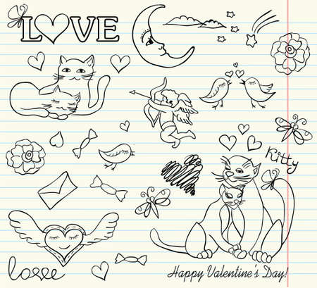 copybook: valentine sketch Illustration